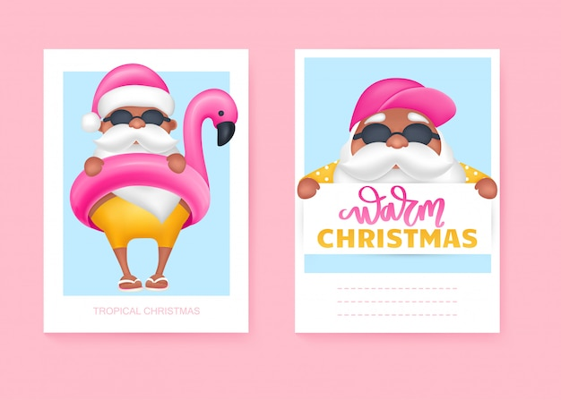 Summer santa's greeting cards. vector illustration. tropical christmas and happy new year in a warm climate design. Premium Vector