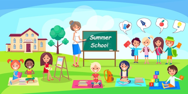 Summer school with kids and teacher Premium Vector