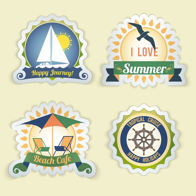 Summer sea retro vacation happy journey beach\ cafe tropical cruise emblems set isolated vector\ illustration