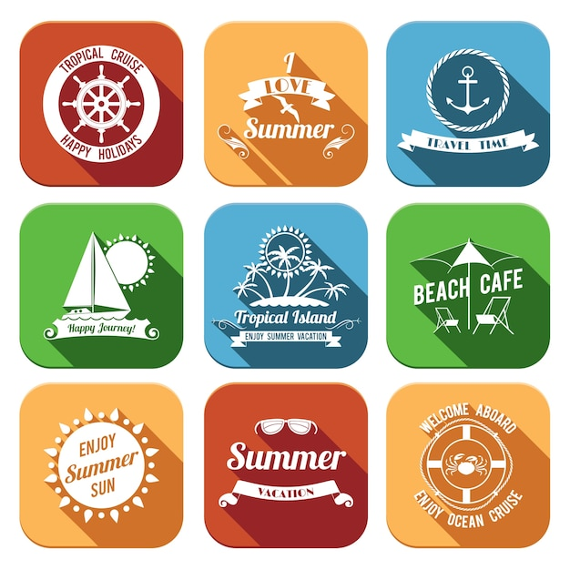 Summer sea retro vacation travel time tropical\ island flat emblems set isolated vector illustration