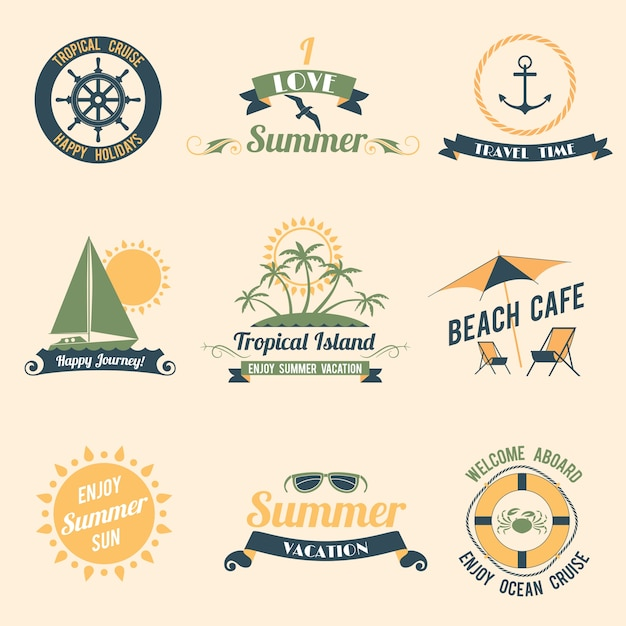 Summer sea retro vacation tropical cruise happy\ holidays labels set isolated vector illustration.