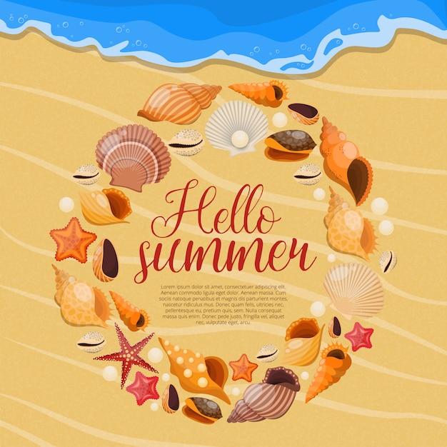 Летние морские раковины с круглой рамкой и заголовком привет лето Бесплатные векторы