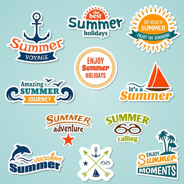 Summer sea tropical vacation journey holidays\ sticker set isolated vector illustration
