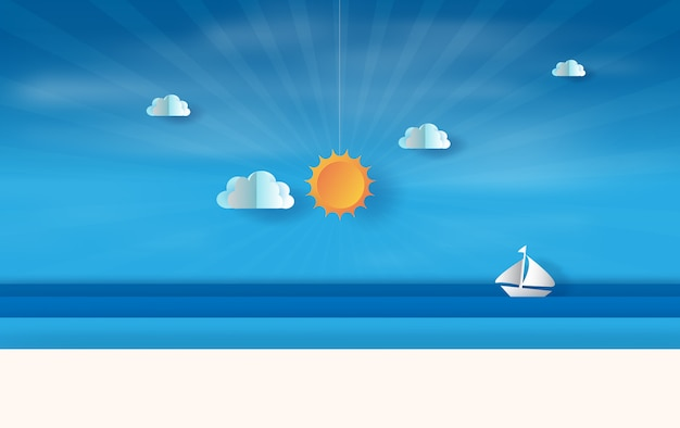 Summer sea view with sunset Premium Vector