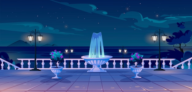 Summer seafront at night time quay with ocean view Free Vector