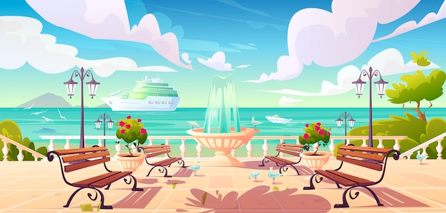 Summer seafront quay with cruise ship in ocean Free Vector