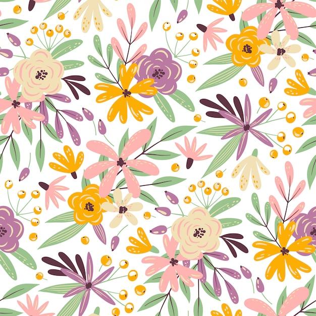Summer seamless flower pattern Premium Vector