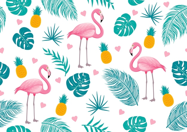 Summer seamless pattern of flamingo and tropical leaves Premium Vector
