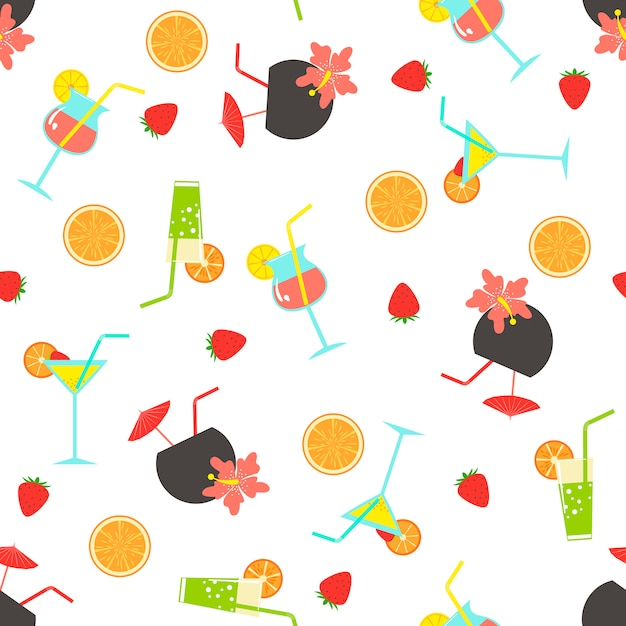 Summer seamless pattern with coctails Premium Vector