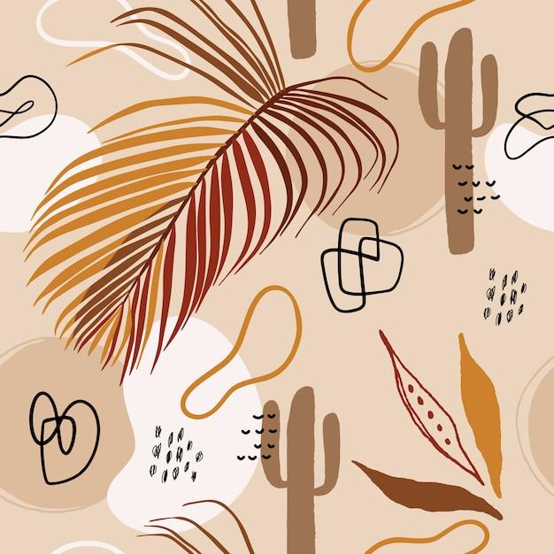 Summer seamless pattern with florals. Premium Vector