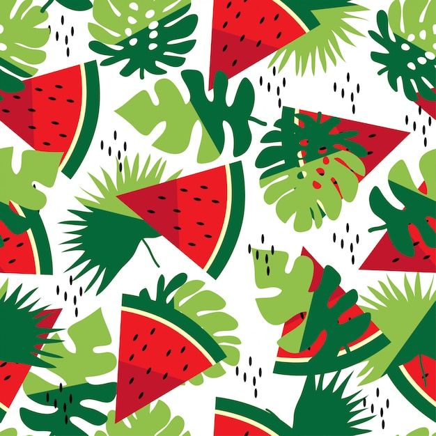 Summer seamless pattern with leaves and watermelon Premium Vector