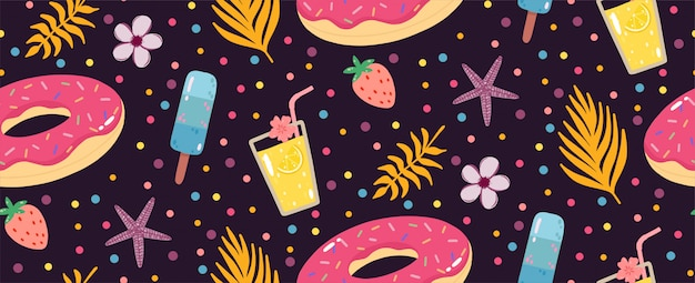 Summer seamless pattern with lemonade, inflatable donuts, ice creams, and palms leaves. Premium Vector