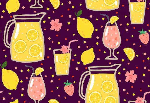 Summer seamless pattern with lemonade, lemons, strawberries, flowers, and cocktails Premium Vector