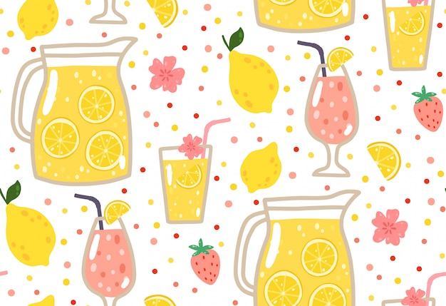 Summer seamless pattern with lemonade, lemons, strawberries, flowers, and cocktails. Premium Vector
