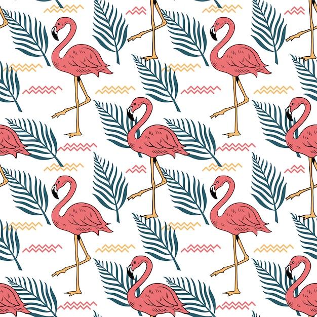 핑크 플라밍고 조류 열 대 잎 여름 완벽 한 패턴 프리미엄 벡터
