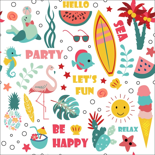 Summer seamless pattern Premium Vector