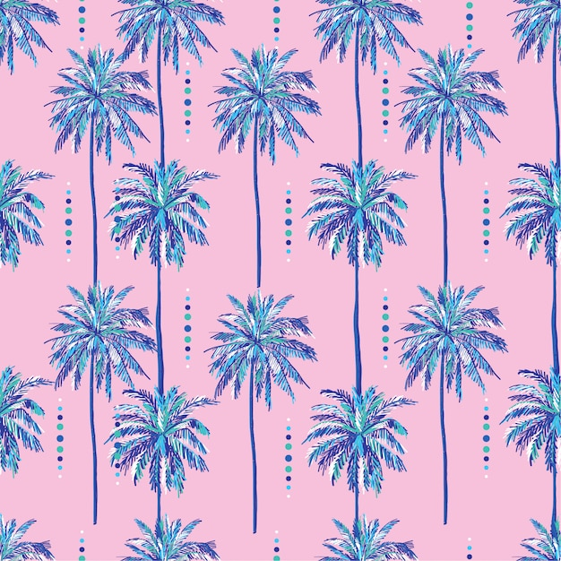 Summer seamless sweet palm trees pattern on sweet pink background Premium Vector
