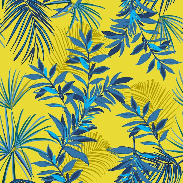 Summer seamless tropical pattern palm leaves  vector Premium Vector