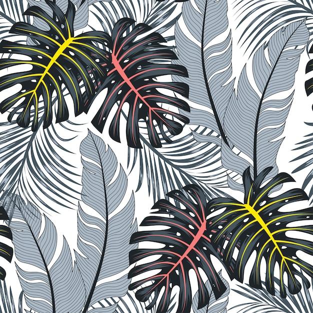 Летний бесшовные тропический узор с яркими листьями и растениями на белом фоне Premium векторы