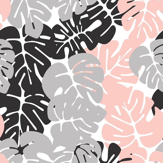 Summer seamless tropical pattern with colorful monstera palm leaves on white background Premium Vector