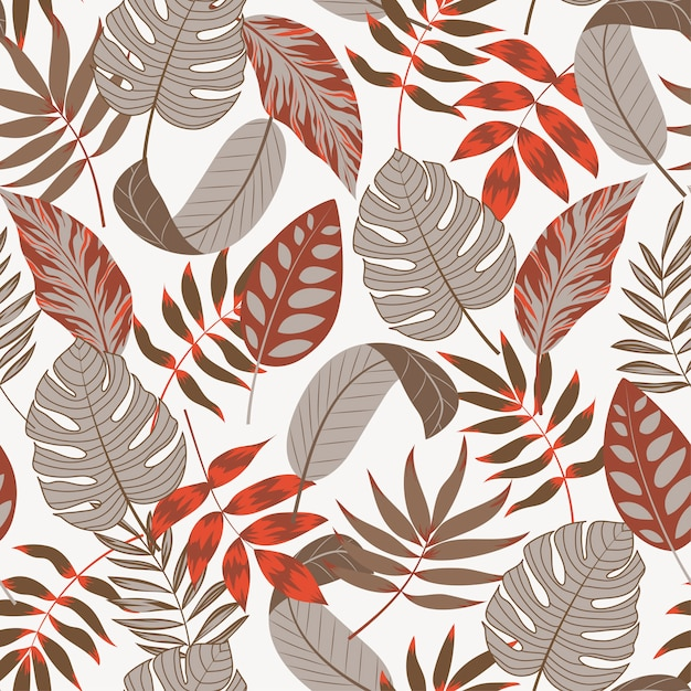 Summer seamless tropical pattern with leaves and plants on white background Premium Vector