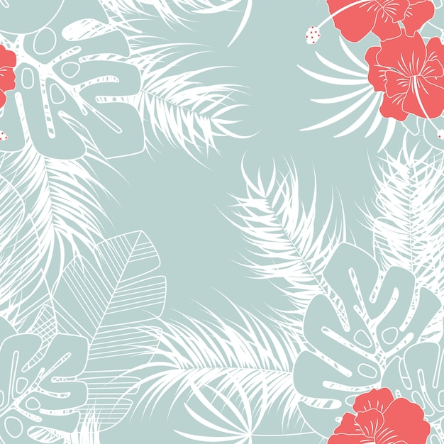 Summer seamless tropical pattern with monstera\ palm leaves and flowers on blue background