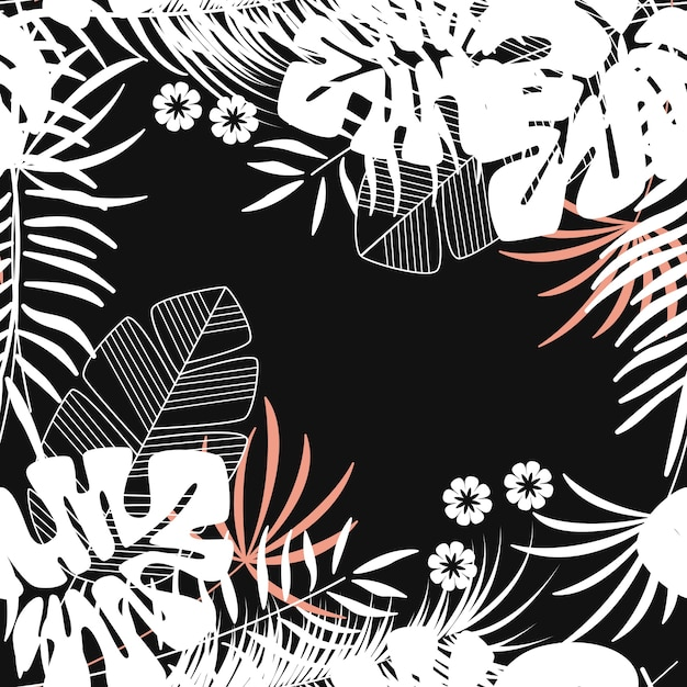 Summer Seamless Tropical Pattern With Monstera Palm Leaves And Plants On Dark Background Premium Vector