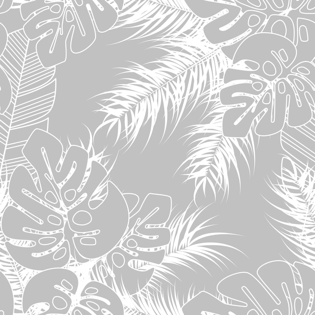 Summer Seamless Tropical Pattern With Monstera Palm Leaves And Plants On  Gray Background