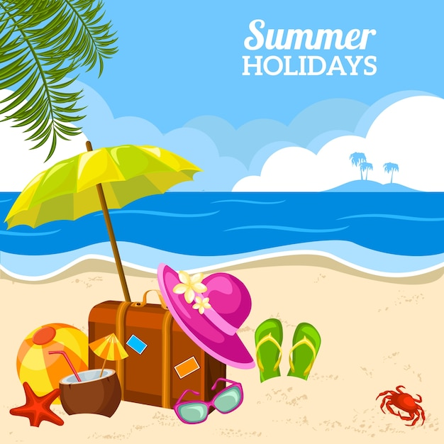 Summer seaside view on the beach poster Free Vector