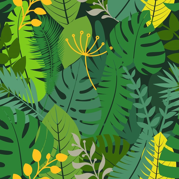 Summer season exotic leaves seamless pattern Premium Vector