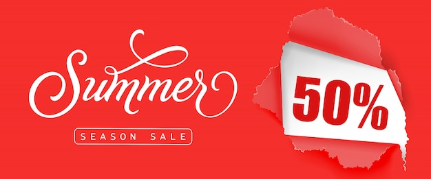 Summer season sale fifty percent lettering. creative inscription with swirl elements Free Vector