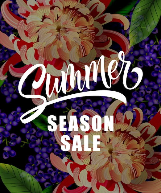 Summer season sale lettering with tropical\ flowers. Summer offer or sale advertising