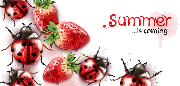 Summer season with strawberry and ladybugs watercolor Premium Vector