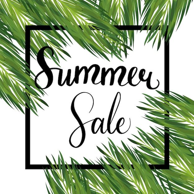 Summer seasonal sale vector template Premium Vector