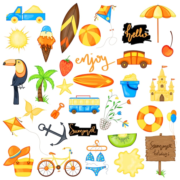Summer set of items on a white background. Premium Vector