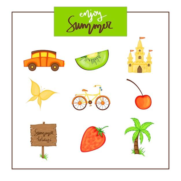 Summer set of items on white background. Premium Vector