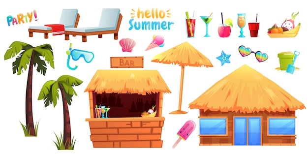 The summer set of objects and furniture Premium Vector