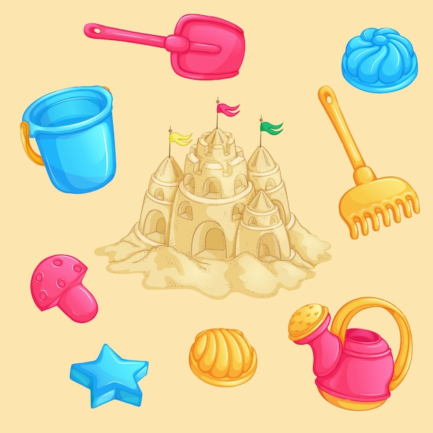 Summer set of sand toys and a sand castle with towers and flags. Premium Vector