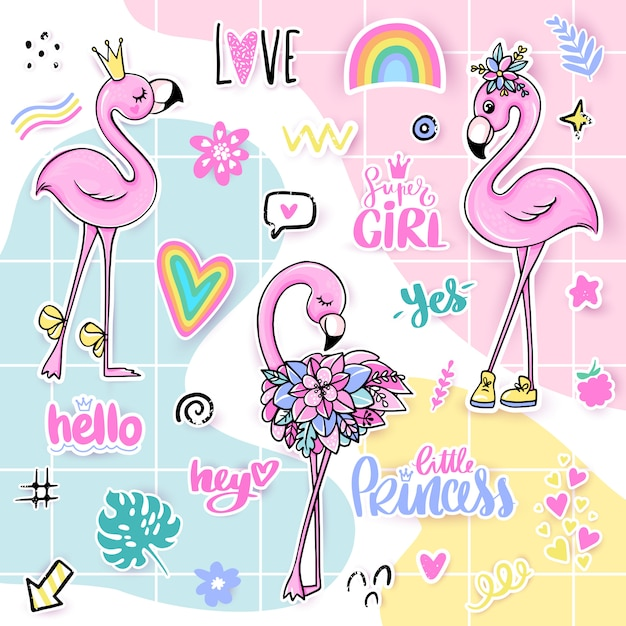 Summer set with pink flamingos. Premium Vector