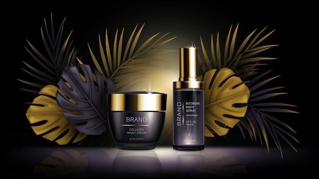 Summer skin care cosmetics, tropic vector Free Vector