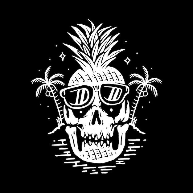 Summer skull line графическая иллюстрация vector art дизайн футболки Premium векторы