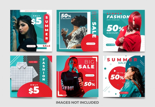 Summer social media banner template collection with unique color Premium Vector