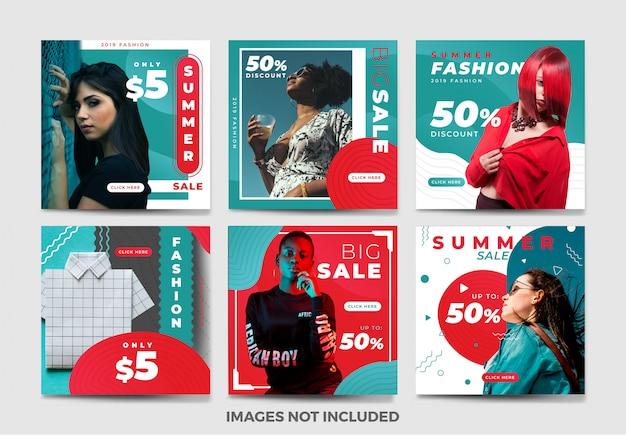 夏のソーシャルメディアバナーテンプレートコレクションのユニークな色 Premiumベクター