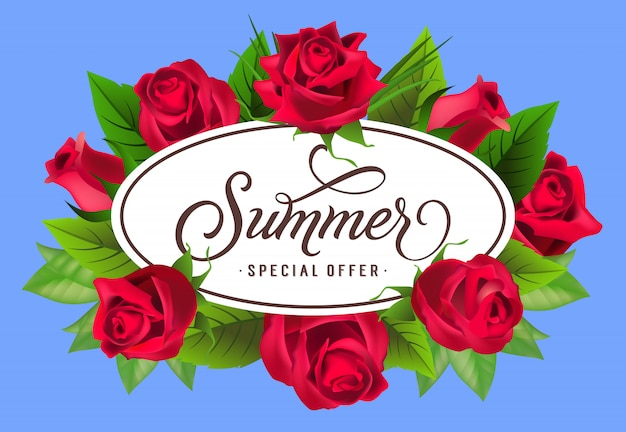 Summer special offer lettering in frame with roses. summer offer or sale advertising Free Vector