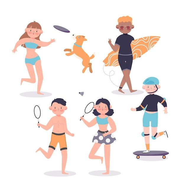 夏のスポーツの概念図解 無料ベクター