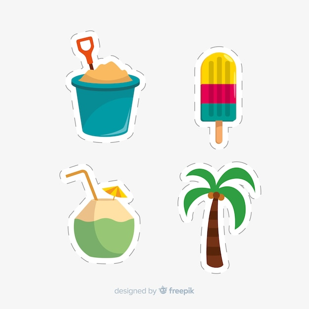 Summer sticker collection Free Vector