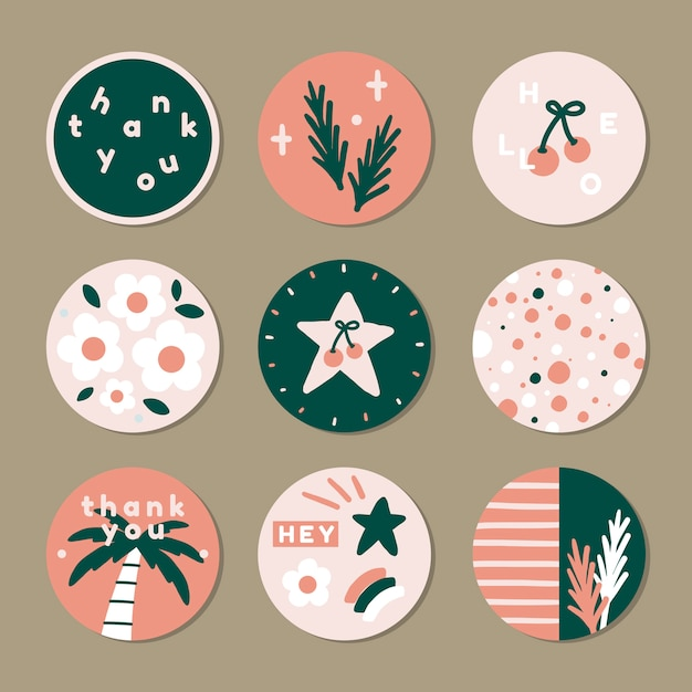 Summer sticker pack Free Vector