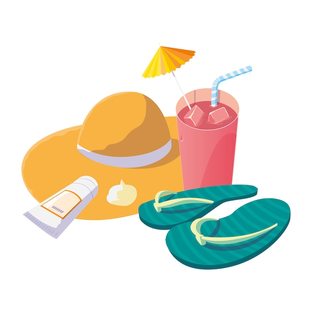 Summer straw hat with cocktail and flip flops Premium Vector