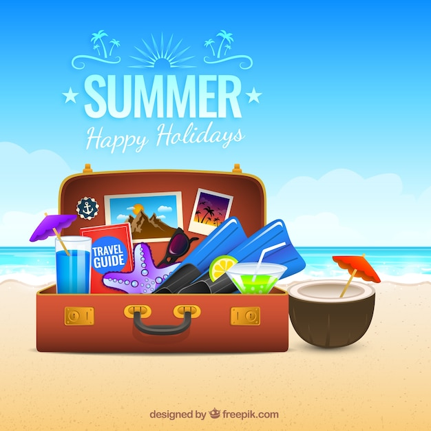 Summer suitcase background Free Vector