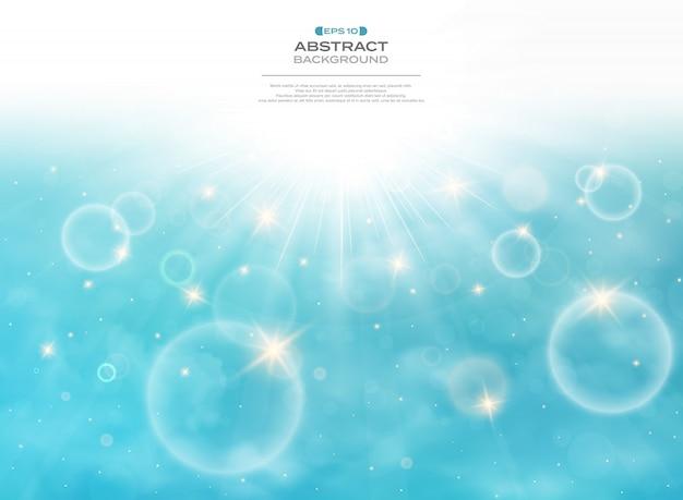 Summer of sun burst on soft light with blue sky background Premium Vector